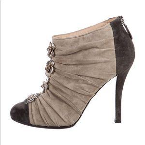 CHANEL Grey Suede Cap Toe Camellia Flower Short Boots Size 37.5 / 7